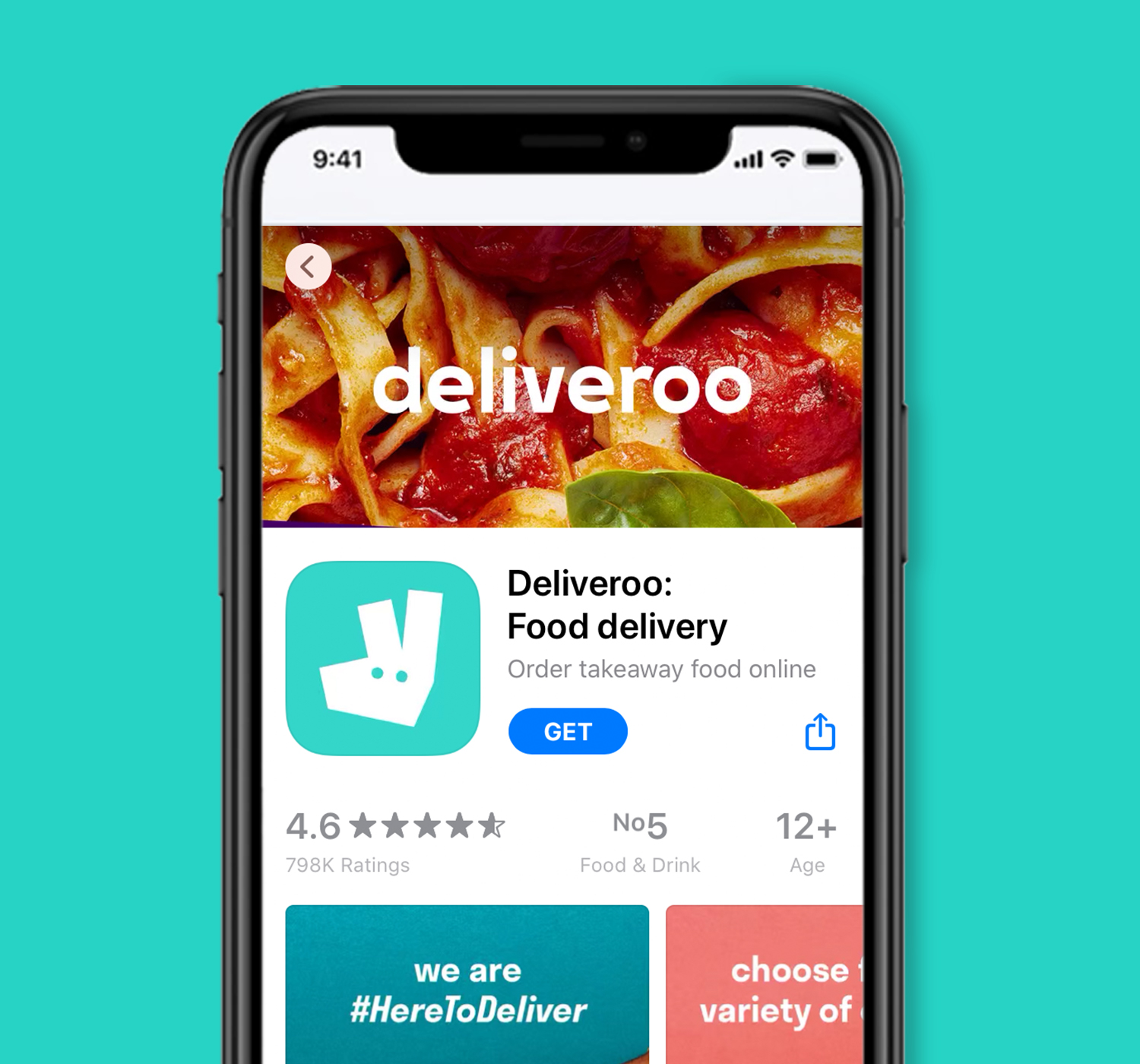 Image of Deliveroo app homepage