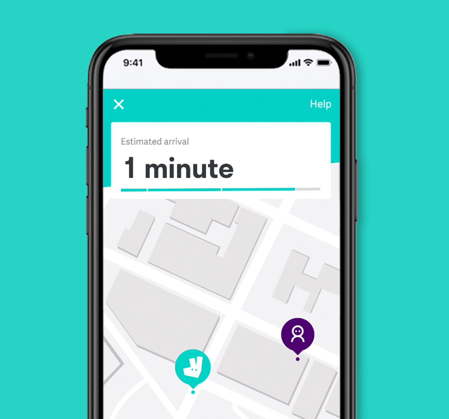 Image of Deliveroo app order tracking page