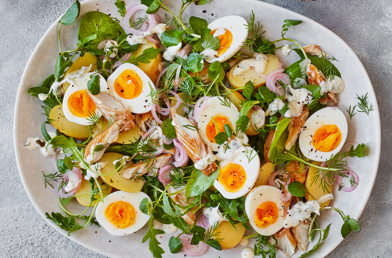 Smoked mackerel, new potato and egg salad