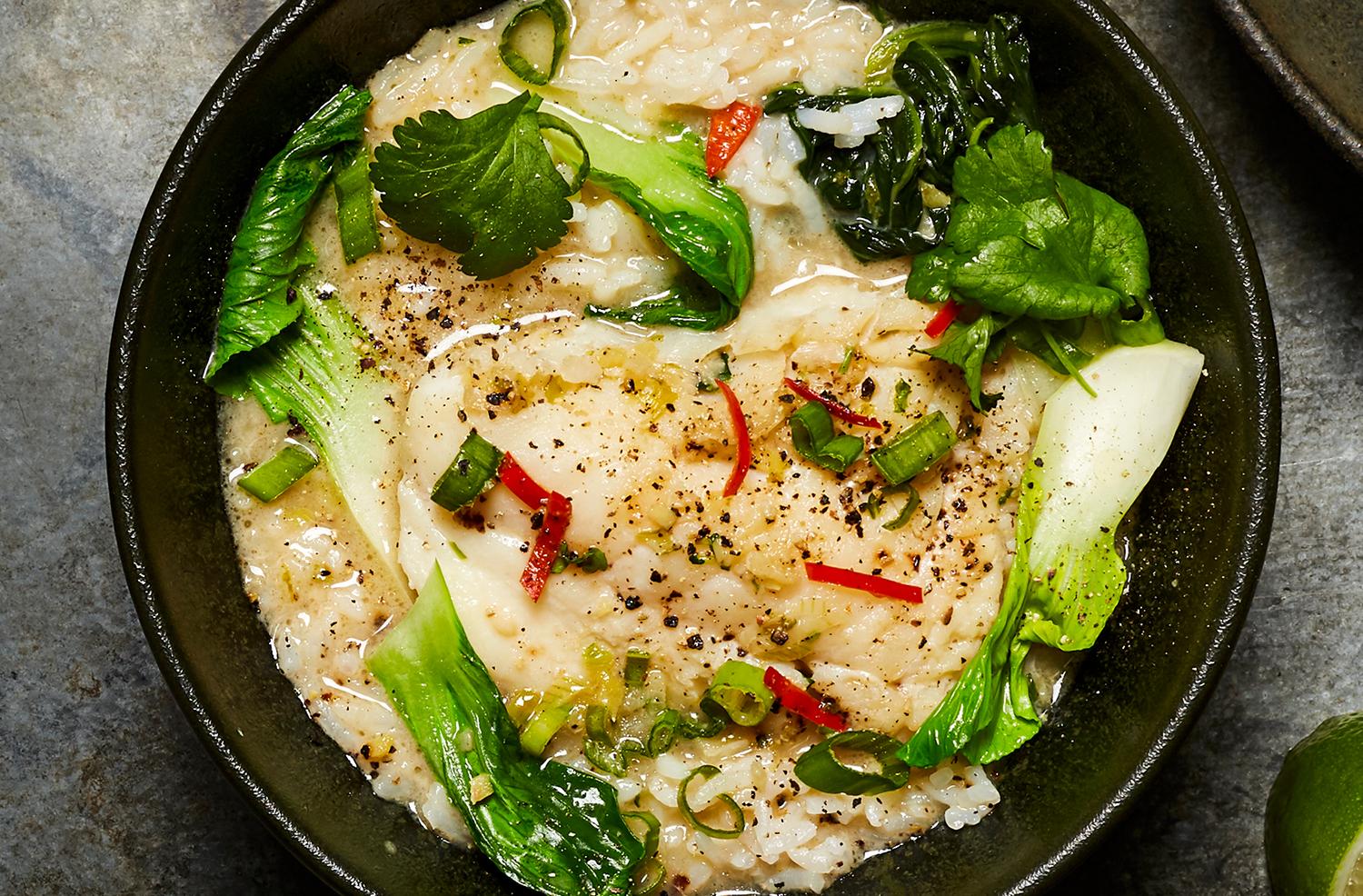 Thai-style poached cod with lime and lemongrass