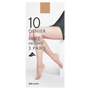 John Lewis 10 denier nude knee high tights, pack of 3