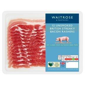 Waitrose Unsmoked Dry Cured Streaky Bacon