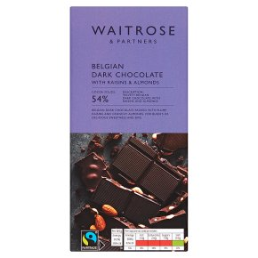 Waitrose Belgian Dark Chocolate with Raisins and Almonds