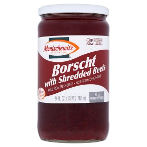 Manischewitz borscht with diced beets