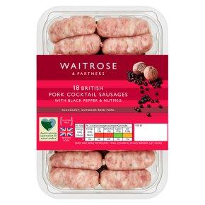 Waitrose 18 Pork Cocktail Sausages with Pepper & Nutmeg