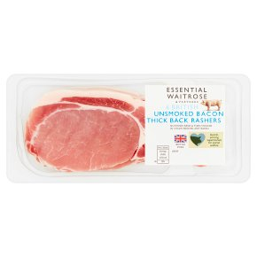 Essential Unsmoked Bacon 6 Thick Back Rashers
