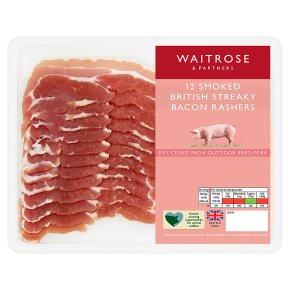 Waitrose Dry Cured Smoked Streaky Bacon 12 Rashers