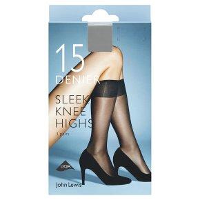 John Lewis 15 denier sleek nearly black knee high tights, pack of 3