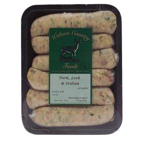 Woburn Country Foods pork, leek & Stilton sausages