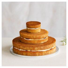 Vanilla Sponge Three Tier Naked Wedding Cake