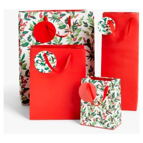 John Lewis 4 Gift Bags Berry Red