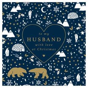 Husband Bears In Snow Card