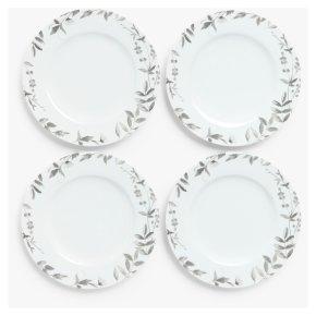 John Lewis Floral Monochrome Dinner Plate x4