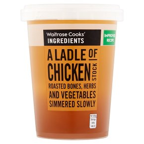 Cook's ingredients a ladle of chicken stock