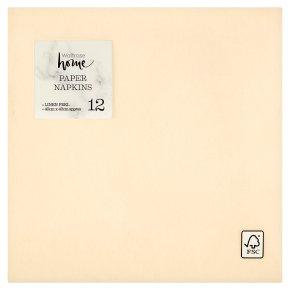 Waitrose Home 40cm linen feel cream napkins, pack of 12