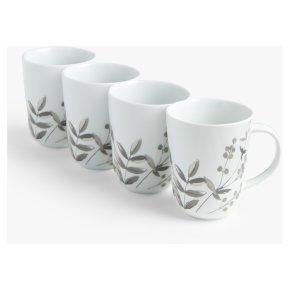 John Lewis Floral Monochrome Mug x4