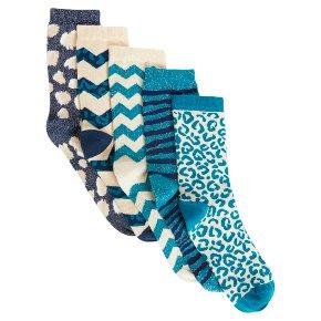 John Lewis 5pk Animal Teal Socks