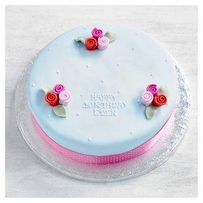 Blue Vintage Rosebuds Cake