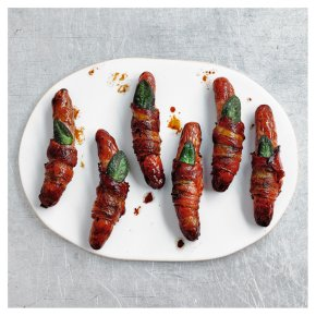 6 No.1 Free Range Pork Chipolatas Wrapped in Air Dried Bacon with Sage Leaf