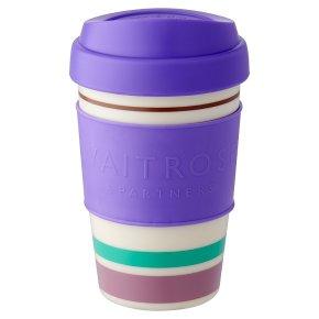 Waitrose Purple Stripe Coffee Cup