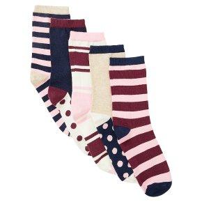 John Lewis 5pk Spots & Stripes Ankle Sock