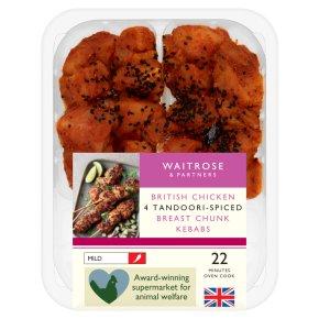 Waitrose British Chicken Tandoori Kebabs