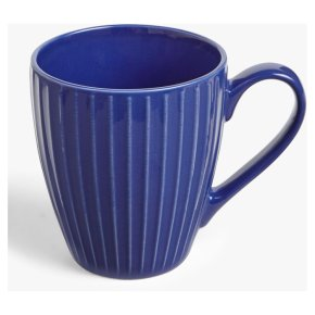 House by John Lewis Ribbed Mug, 370ml, Lapis Blue