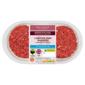 Waitrose Reduced Fat British Beef Burgers