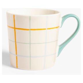 John Lewis Check Mug Cream