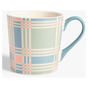 John Lewis Check Mug Blue