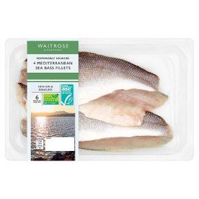 Waitrose 4 Mediterranean Sea Bass Fillets