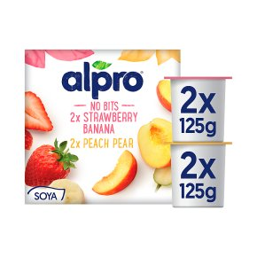 Alpro Strawberry & Banana, Peach & Pear Yoghurt Alternative