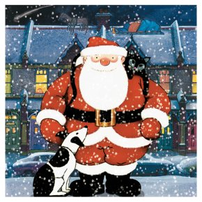 Father Christmas With Dog And Cat C