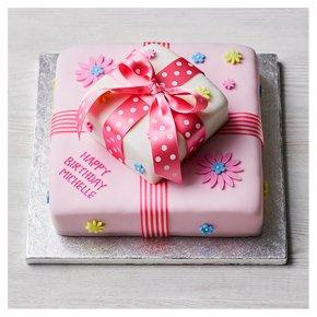 Two Tier Floral Parcel Cake