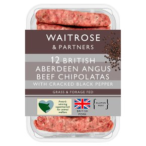 Waitrose 12 Aberdeen Angus beef & black pepper chipolatas