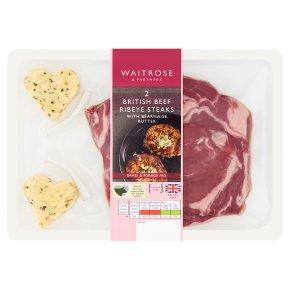 Waitrose 2 Ribeye Beef Steaks & Bearnaise Butter