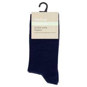 Waitrose Supersoft Navy Ankle Socks