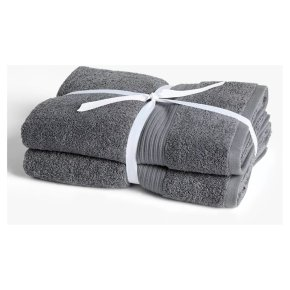 John Lewis Cotton Bath Towel Bale Steel 2 Pack