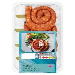 Waitrose 4 Pork Chorizo Sausage Whorls