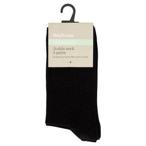 Waitrose Supersoft Black Ankle Socks