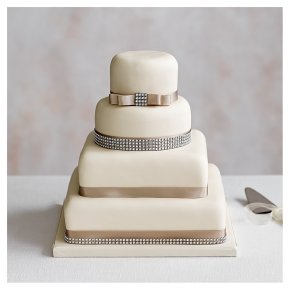 Fruit, Golden Sponge & Chocolate Sponge Diamanté Wedding Cake