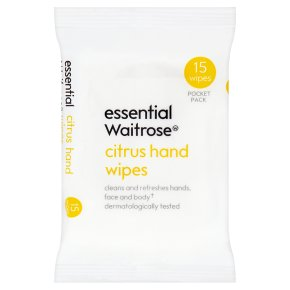 essential Waitrose citrus hand wipes