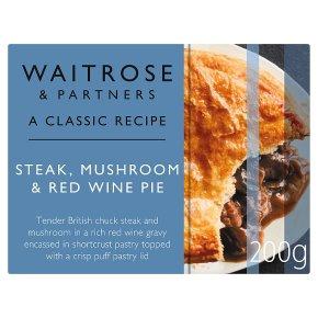 Waitrose Classic Steak, Mushroom & Red Wine Pie