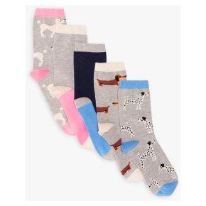 John Lewis 5pk Dogs Ankle Socks