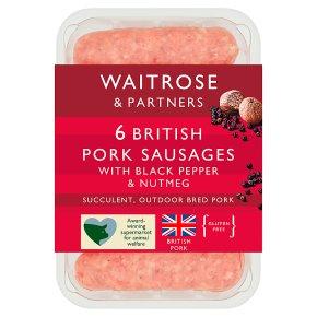 Waitrose 6 Pork Sausages with Pepper & Nutmeg