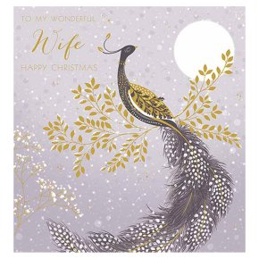 Wife Pastel Peacock Christmas Card