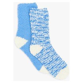John Lewis Popcorn Fleece 2PP Socks Blue