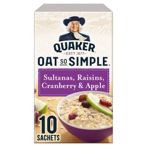 Quaker Oat So Simple Sultanas, Raisins Cranberry, Apple 10s
