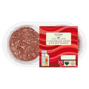 Waitrose 4 Caramelised Onion & Ale Beef Burgers