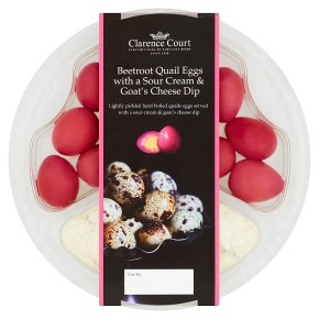 Clarence Court Beetroot Quail Eggs with Sour Cream Dip